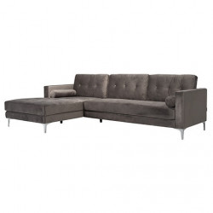 Canapea cu colt gri piatra din catifea si inox pentru 2,5 persoane Louissa Richmond Interiors