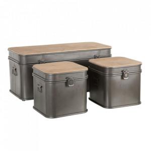 Set bancheta si 2 tabureti gri din fier si lemn de brad Ugba Ixia