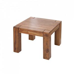 Masuta maro din lemn de palisandru indian pentru cafea 60x60 cm Makassar Invicta Interior