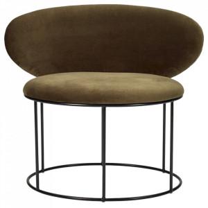 Scaun lounge verde/negru din catifea si otel Bella Bolia