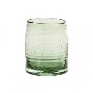 Pahar transparent/verde din sticla 8x10,5 cm Greenie Nordal