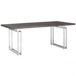Masa dining maro/argintie din lemn si inox 100x230 cm Tuxedo Richmond Interiors