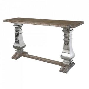 Consola maro/argintie din lemn de stejar si inox 160 cm Glamour Livin Hill