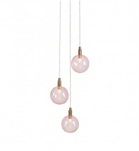 Lustra roz din sticla si metal cu 3 becuri Uno Markslojd