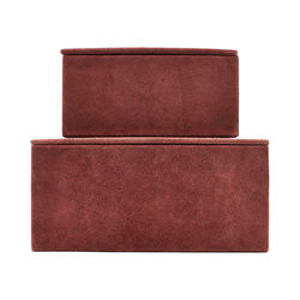Set 2 cutii din piele rosie Suede Burnt House Doctor