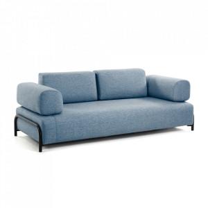 Canapea albastra din textil si lemn de pin pentru 3 persoane Compo La Forma