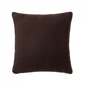 Perna decorativa patrata maro ciocolata din poliester si bumbac 45x45 cm Loving Colours Unimasa