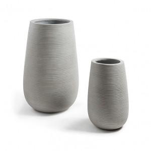 Set 2 ghivece din ciment gri Lis La Forma