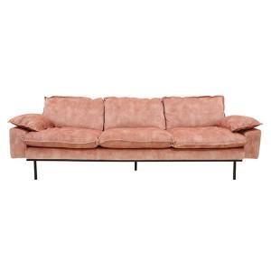 Canapea roz din metal si catifea pentru 4 persoane Old Pink HK Living