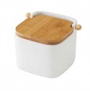 Recipient alb cu capac pentru sare din ceramica 750 ml Ellis Unimasa