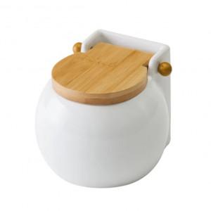 Recipient alb cu capac pentru sare din ceramica 700 ml Round Ellis Unimasa