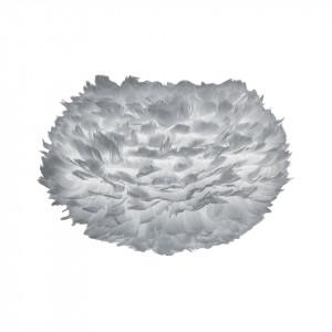Abajur gri din pene si otel Eos Medium Light Grey Umage
