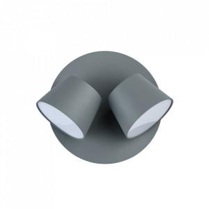 Aplica gri/alba din metal si plastic cu 2 LED-uri Hartwig MW Glasberg