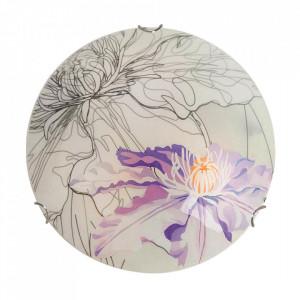 Aplica multicolora din sticla si otel Spring Violet Round Candellux