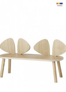 Banca maro din lemn de stejar 87,2 cm pentru copii Mouse Bench Nofred