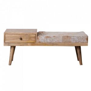 Bancheta maro din piele si lemn de mango 100 cm Rakkeby Ixia