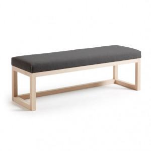 Bancheta maro/gri din lemn si textil 128 cm Graphite La Forma