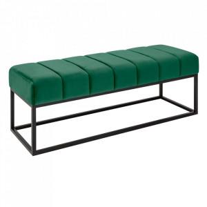 Bancheta verde/neagra din catifea si metal 108 cm Beaute Invicta Interior