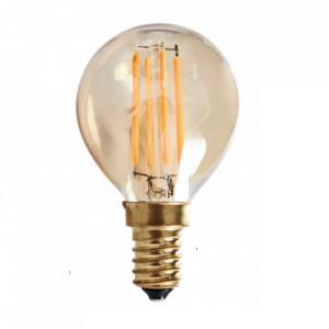 Bec maro chihlimbar cu filament LED E14 6W Oval Twist Opjet Paris
