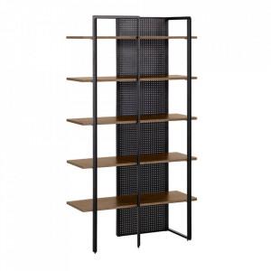 Biblioteca neagra/maro din lemn si metal 180 cm Nadyria La Forma