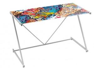 Birou multicolor din metal si sticla 60x120 cm Graffity Unimasa