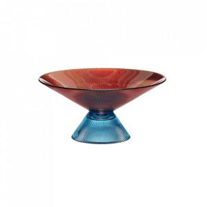 Bol decorativ portocaliu/albastru din sticla 25 cm Orange Bowl Hubsch