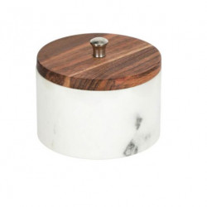 Borcan cu capac alb/maro din marmura si lemn de salcam 250 ml Karla Kave Home