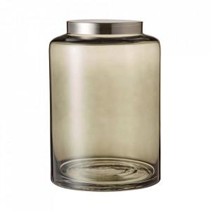 Borcan cu capac gri fum/argintiu din sticla si fier 15x22 cm Glam Jar Bolia