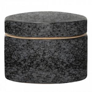 Borcan negru din ceramica cu capac Noir Bloomingville