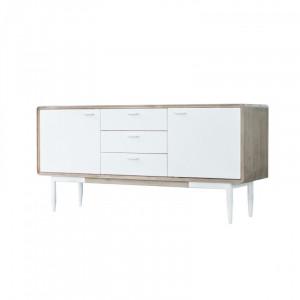 Bufet inferior alb din lemn de salcam si MDF 160 cm Florence Somcasa