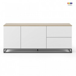 Bufet inferior alb/maro din MDF si metal 160 cm Join TemaHome