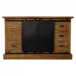 Bufet inferior maro/negru din lemn si fier 140 cm Blackburn HSM Collection