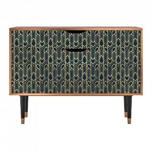Bufet inferior multicolor din MDF si lemn 115 cm Golden Empire Furny