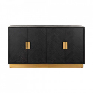 Bufet inferior negru/auriu din lemn si inox 160 cm Blackbone Sideboard Mini Gold Richmond Interiors