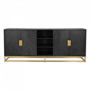 Bufet inferior negru/auriu din lemn si inox 225 cm Blackbone Sideboard Big Gold Richmond Interiors