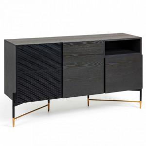 Bufet inferior negru din metal si lemn 159 cm Norfort La Forma