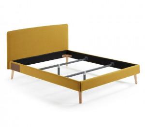 Cadru pat galben din lemn si textil 178x213 cm Dyla Kave Home