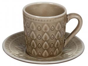 Cana cu farfurioara din portelan pentru ceai Brown Natural Santiago Pons