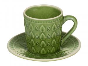 Cana cu farfurioara din portelan pentru ceai Green Natural Santiago Pons