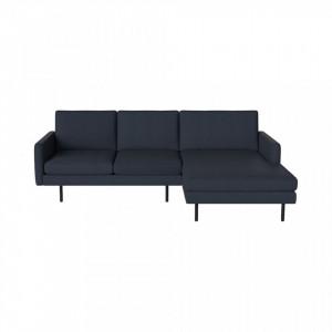 Canapea albastra cu colt 246 cm din poliester si lemn Remix Dark Right Bolia