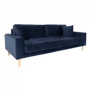 Canapea albastra din catifea si lemn pentru 3 persoane Lido House Nordic