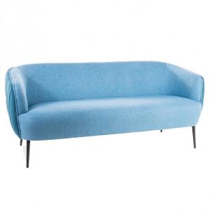 Canapea albastra din textil si metal pentru 3 persoane Lenox Signal Meble