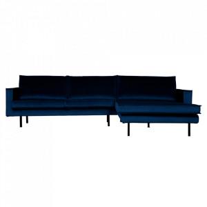 Canapea albastru inchis din poliester si metal cu colt pentru 3 persoane Rodeo Right Be Pure Home