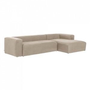 Canapea bej din fibre acrilice si lemn de pin cu colt pentru 3 persoane Blok RIght La Forma