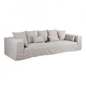 Canapea bej din in si lemn 330 cm Lostock Denzzo