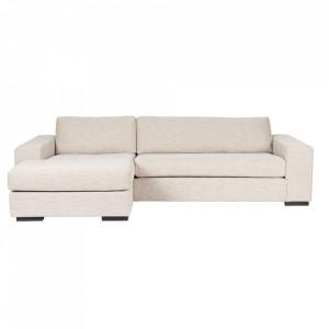 Canapea crem din poliester si lemn de pin cu colt pentru 2 persoane Fiep Left Latte Zuiver