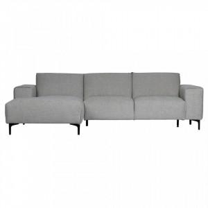 Canapea cu colt din textil gri Linde Left Woood