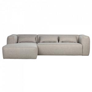 Canapea cu colt gri deschis din poliester si bumbac 305 cm Bean Left Woood
