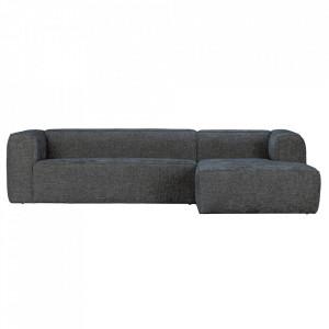 Canapea cu colt neagra din poliester si lemn 305 cm Bean Melange Right Woood