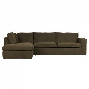Canapea cu colt verde din poliester 283 cm Freddie Left Woood